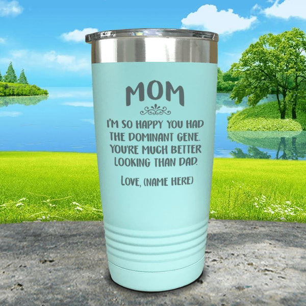 Mom Dominant Gene (CUSTOM) With Child's Name Engraved Tumbler Tumbler ZLAZER 20oz Tumbler Mint