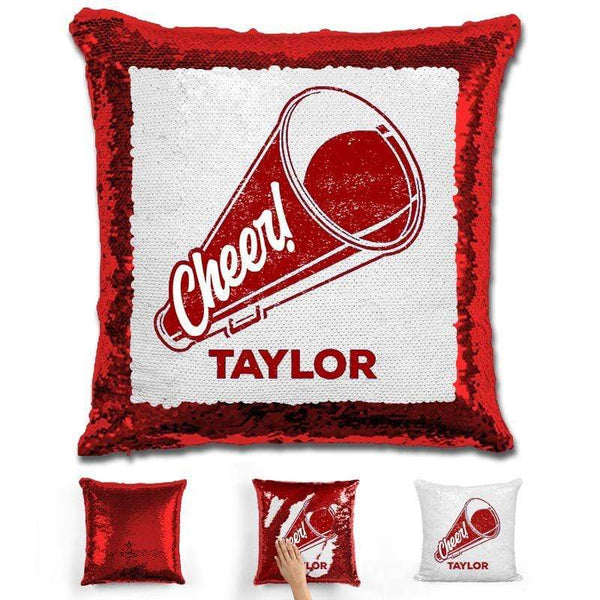 Cheerleader Personalized Magic Sequin Pillow Pillow GLAM Red Maroon