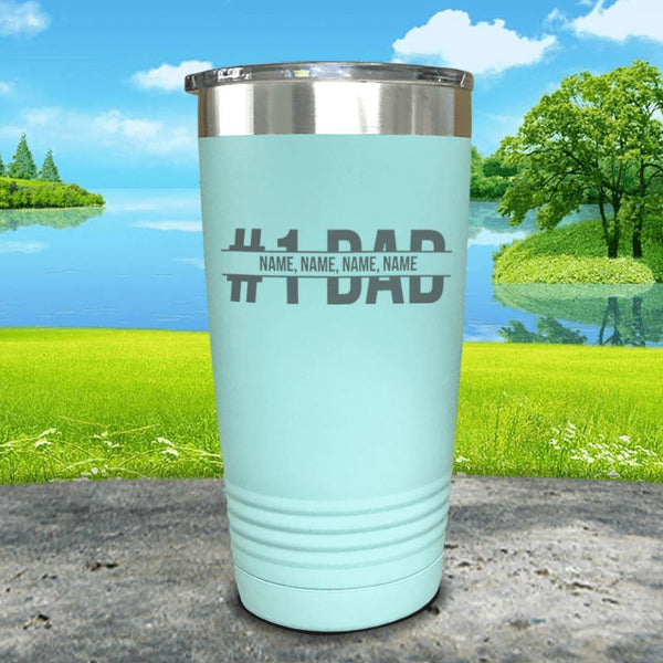 #1 Dad (CUSTOM) With Child's Name Engraved Tumbler Tumbler ZLAZER 20oz Tumbler Mint