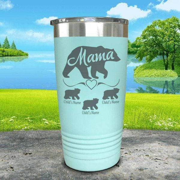 Mama Bear (CUSTOM) With Child's Name Engraved Tumblers Tumbler ZLAZER 20oz Tumbler Mint