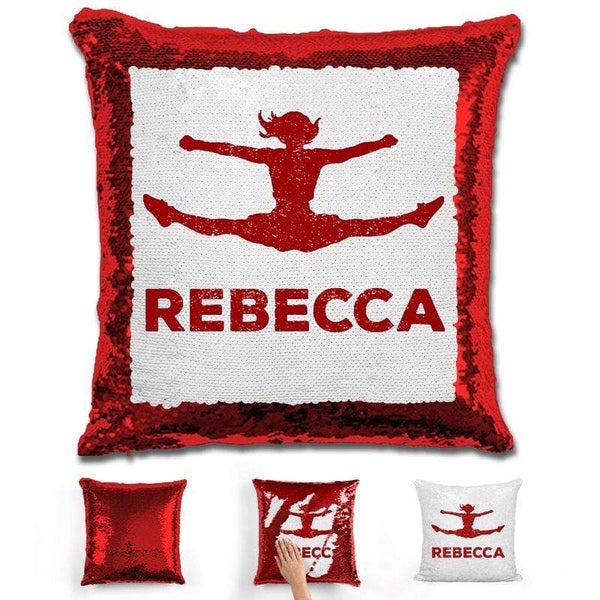 Competitive Cheerleader Personalized Magic Sequin Pillow Pillow GLAM Red Maroon