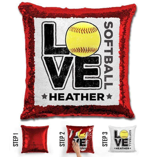 Personalized LOVE Softball Magic Sequin Pillow Pillow GLAM Red Black