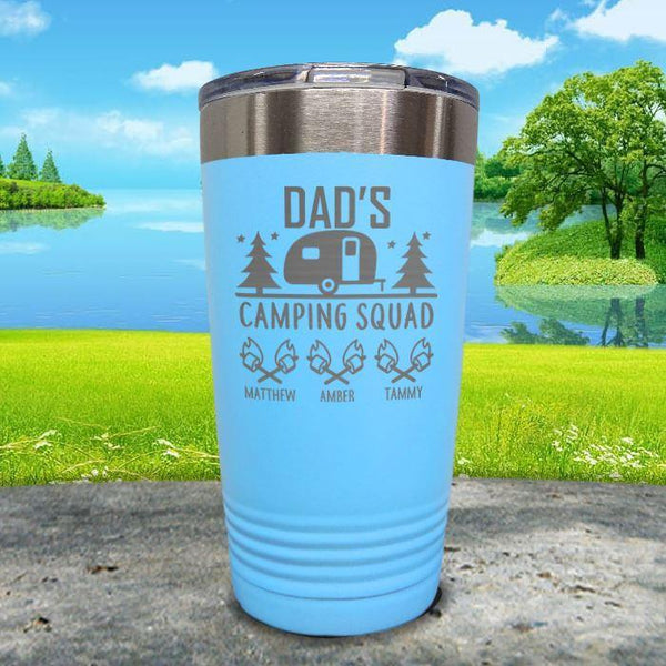 Dad's Camping Squad (CUSTOM) With Child's Name Engraved Tumblers Tumbler ZLAZER 20oz Tumbler Light Blue