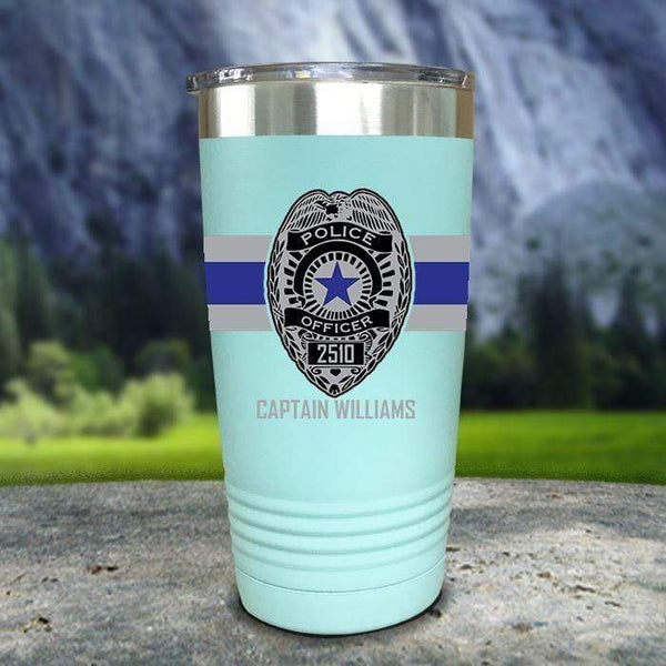 Personalized Police FULL Wrap Color Printed Tumblers Tumbler Nocturnal Coatings 20oz Tumbler Mint