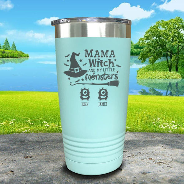 Mama Witch (CUSTOM) With Child's Name Engraved Tumbler Tumbler ZLAZER 20oz Tumbler Mint