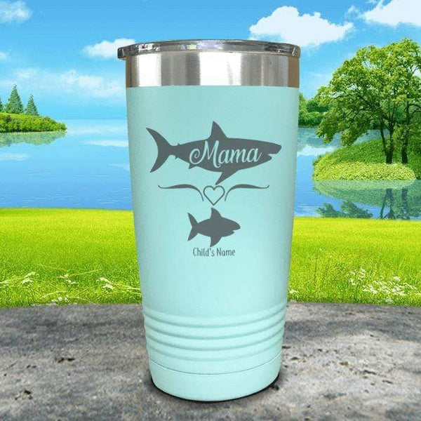 Mama Shark (CUSTOM) With Child's Name Engraved Tumblers Tumbler Southland 20oz Tumbler Mint