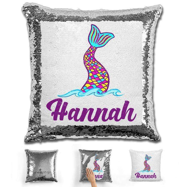 Mermaid Tail Personalized Magic Sequin Pillow Pillow GLAM Silver