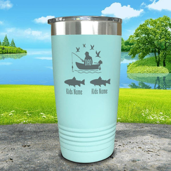 Fishing Dad (CUSTOM) With Child's Name Engraved Tumblers Tumbler ZLAZER 20oz Tumbler Mint