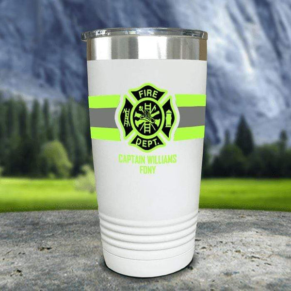 Personalized Firefighter FULL Wrap Color Printed Tumblers Tumbler Nocturnal Coatings 20oz Tumbler White