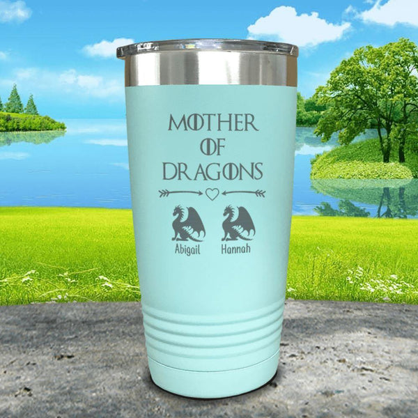 Mother Of Dragons (CUSTOM) With Child's Name Engraved Tumblers Tumbler ZLAZER 20oz Tumbler Mint