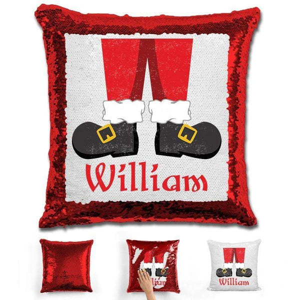 Personalized Santa Legs Magic Christmas Sequin Pillow Pillow GLAM Red