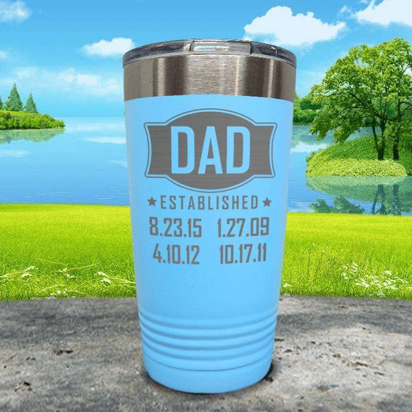 Dad Established CUSTOM Dates Engraved Tumblers Tumbler ZLAZER 20oz Tumbler Light Blue
