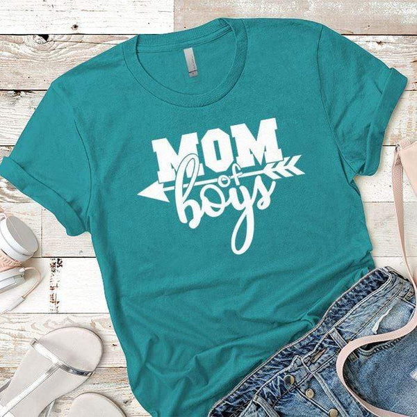 Mom Of The Boys Premium Tees T-Shirts CustomCat Tahiti Blue X-Small