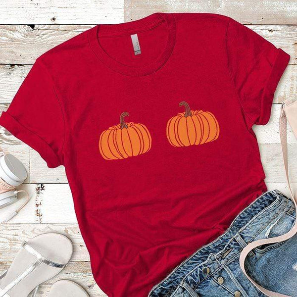 2 Pumpkins Premium Tees T-Shirts CustomCat Red X-Small