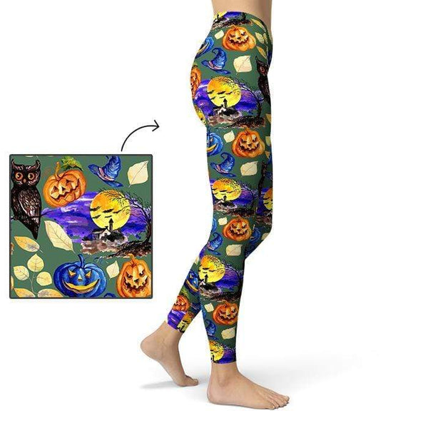 Full Moon Leggings Pants CustomCat X-Small