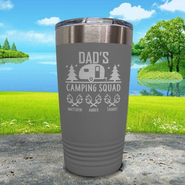 Dad's Camping Squad (CUSTOM) With Child's Name Engraved Tumblers Tumbler ZLAZER 20oz Tumbler Gray