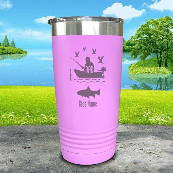 Fishing Dad (CUSTOM) With Child's Name Engraved Tumblers Tumbler ZLAZER 20oz Tumbler Lavender