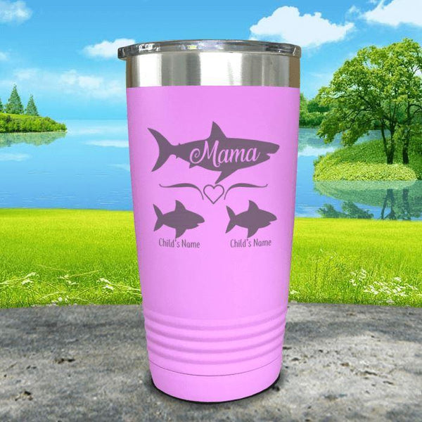 Mama Shark (CUSTOM) With Child's Name Engraved Tumblers Tumbler Southland 20oz Tumbler Lavender