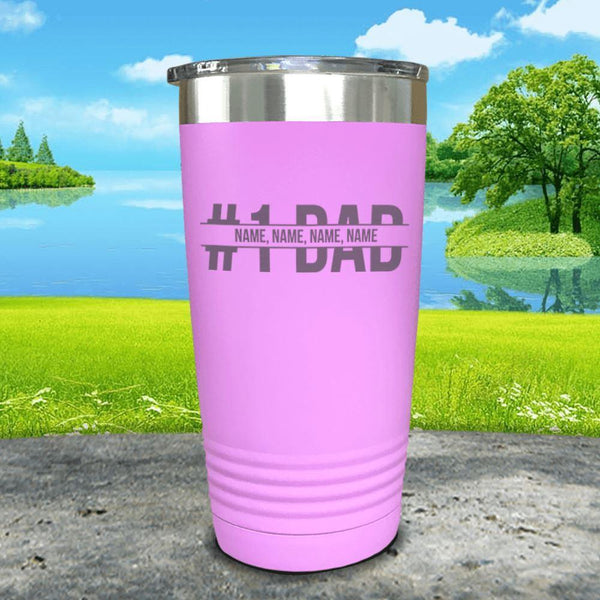 #1 Dad (CUSTOM) With Child's Name Engraved Tumbler Tumbler ZLAZER 20oz Tumbler Lavender