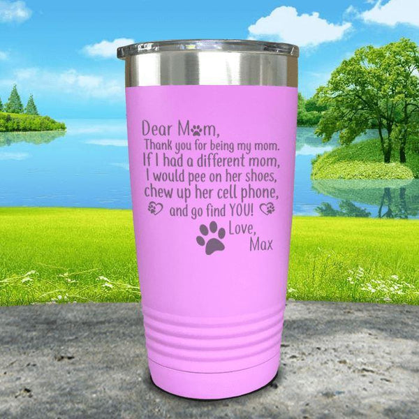 PERSONALIZED Dear Dog Mom Love Your Dog Engraved Tumbler Tumbler ZLAZER 20oz Tumbler Lavender