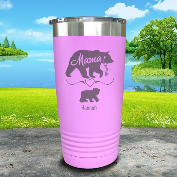 Mama Bear Nurse (CUSTOM) With Child's Name Engraved Tumblers Tumbler ZLAZER 20oz Tumbler Lavender