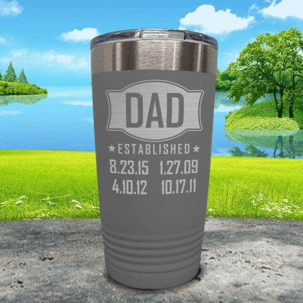 Dad Established CUSTOM Dates Engraved Tumblers Tumbler ZLAZER 20oz Tumbler Grey