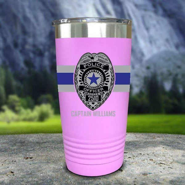 Personalized Police FULL Wrap Color Printed Tumblers Tumbler Nocturnal Coatings 20oz Tumbler Lavender