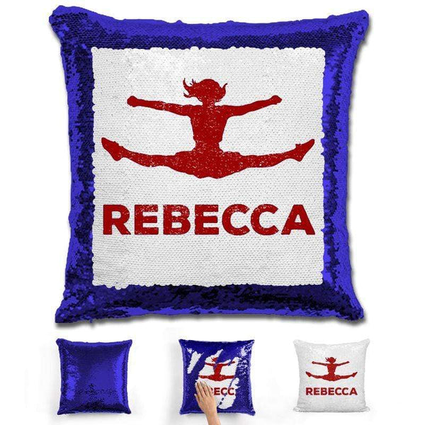 Competitive Cheerleader Personalized Magic Sequin Pillow Pillow GLAM Blue Maroon
