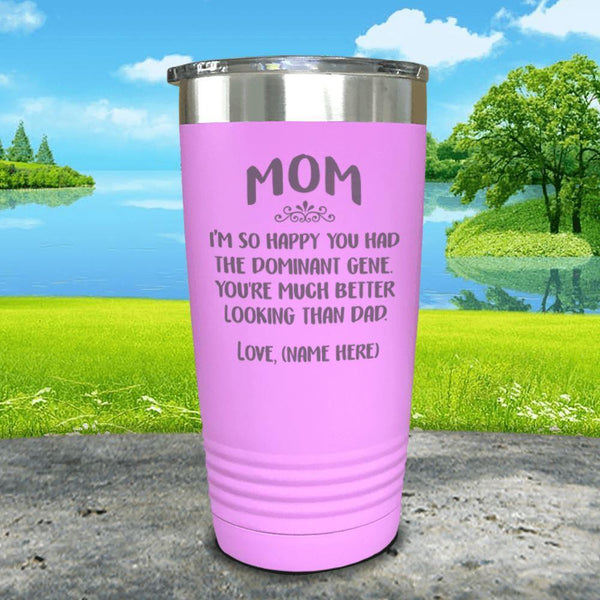 Mom Dominant Gene (CUSTOM) With Child's Name Engraved Tumbler Tumbler ZLAZER 20oz Tumbler Lavender