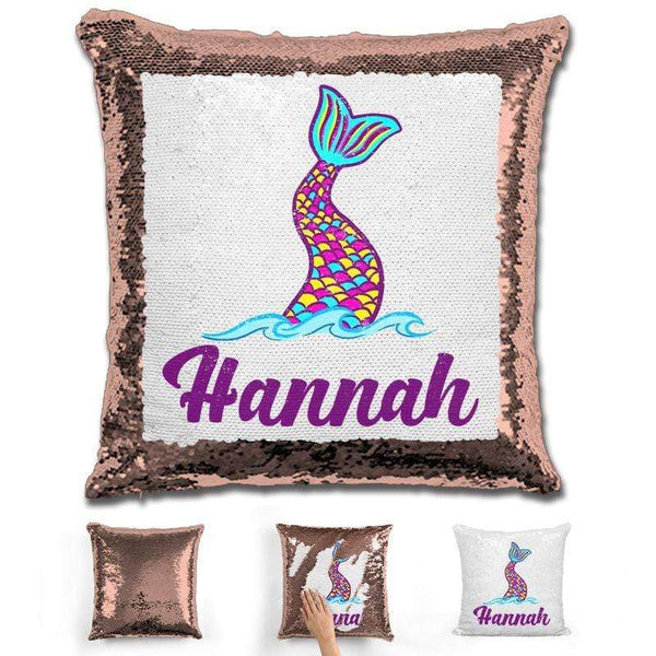 Mermaid Tail Personalized Magic Sequin Pillow Pillow GLAM Rose Gold