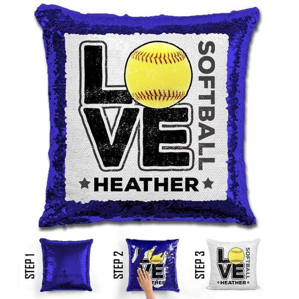 Personalized LOVE Softball Magic Sequin Pillow Pillow GLAM Blue Black
