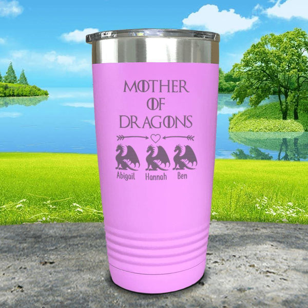 Mother Of Dragons (CUSTOM) With Child's Name Engraved Tumblers Tumbler ZLAZER 20oz Tumbler Lavender