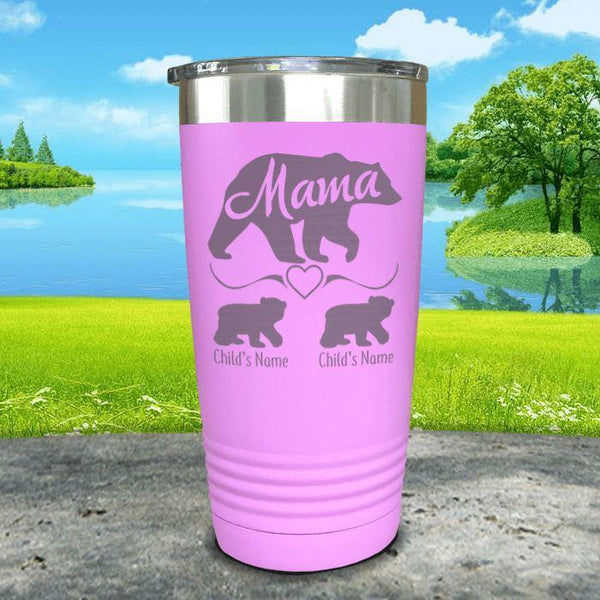 Mama Bear (CUSTOM) With Child's Name Engraved Tumblers Tumbler ZLAZER 20oz Tumbler Lavender