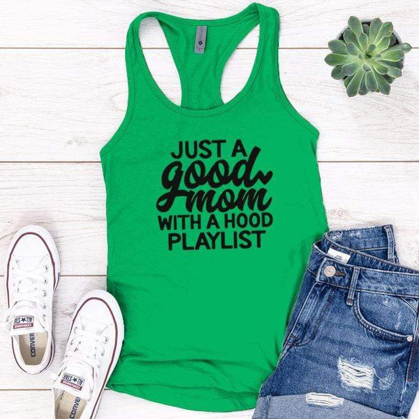 Just A Good Mom Premium Tank Tops Apparel Edge Kelly Green S