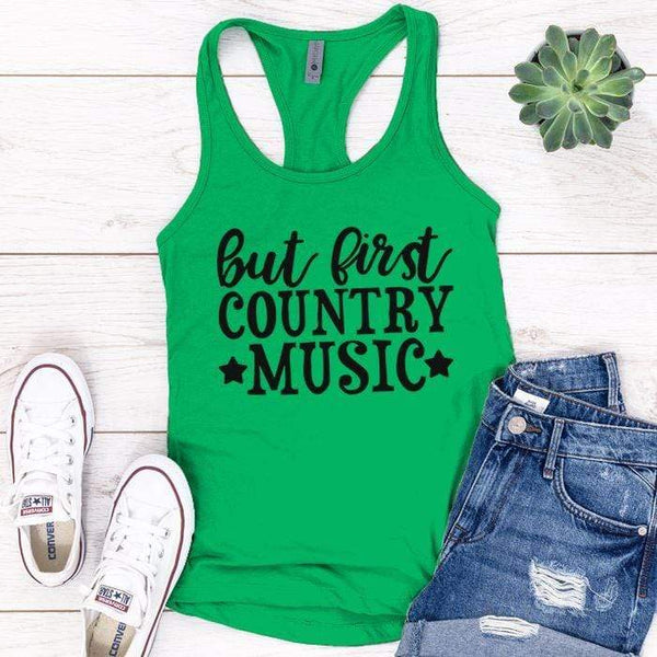 Country Music Premium Tank Tops Apparel Edge Kelly Green S