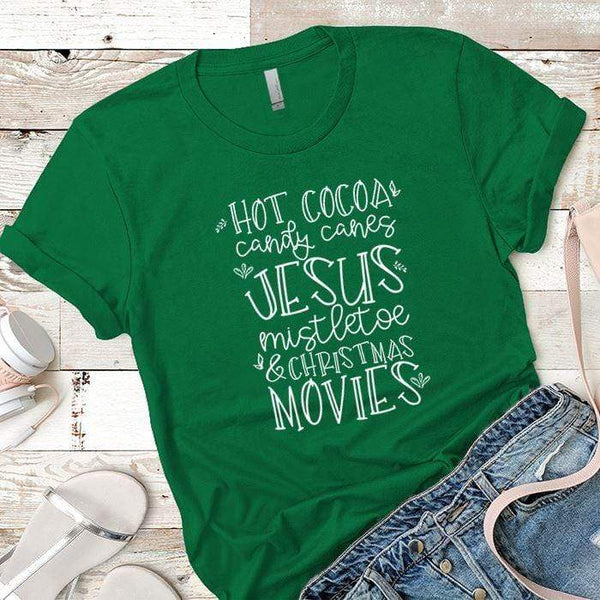 Hot Cocoa Candy Canes Premium Tees T-Shirts CustomCat Kelly Green X-Small