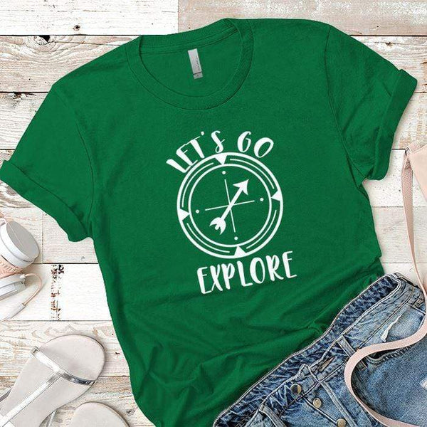 Let's Go Explore 2 Premium Tees T-Shirts CustomCat Kelly Green X-Small