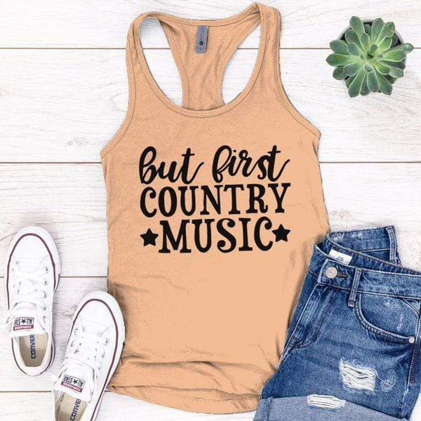 Country Music Premium Tank Tops Apparel Edge Light Orange S