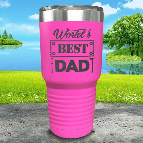 World's Best Dad Engraved Tumbler Tumbler ZLAZER 30oz Tumbler Pink