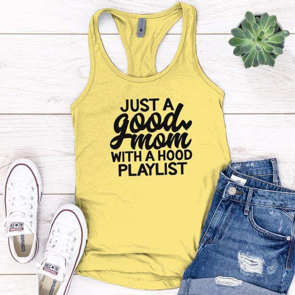 Just A Good Mom Premium Tank Tops Apparel Edge Banana Cream S