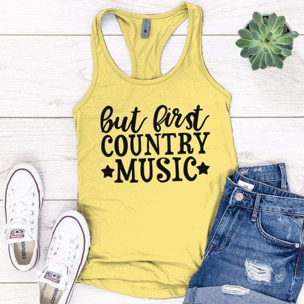 Country Music Premium Tank Tops Apparel Edge Banana Cream S