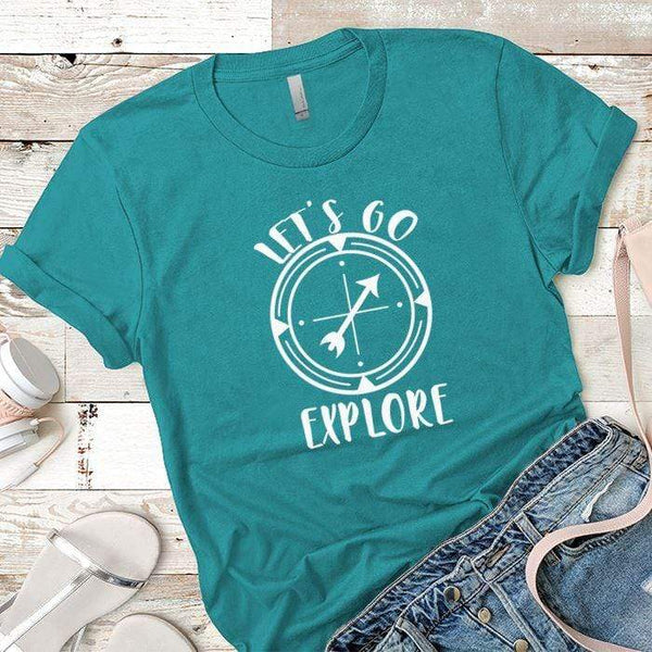 Let's Go Explore 2 Premium Tees T-Shirts CustomCat Tahiti Blue X-Small