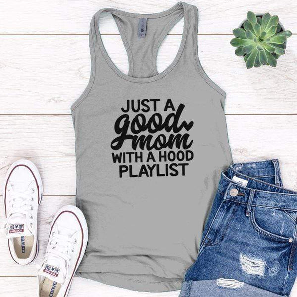 Just A Good Mom Premium Tank Tops Apparel Edge Heather Grey S