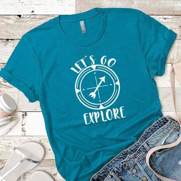 Let's Go Explore 2 Premium Tees T-Shirts CustomCat Turquoise X-Small