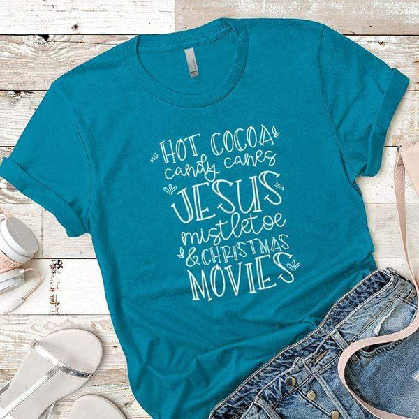 Hot Cocoa Candy Canes Premium Tees T-Shirts CustomCat Turquoise X-Small