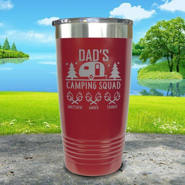 Dad's Camping Squad (CUSTOM) With Child's Name Engraved Tumblers Tumbler ZLAZER 20oz Tumbler Maroon