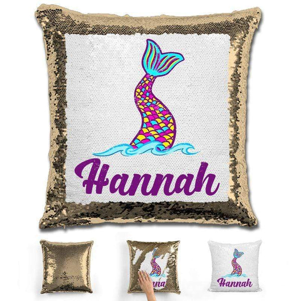 Mermaid Tail Personalized Magic Sequin Pillow Pillow GLAM Gold