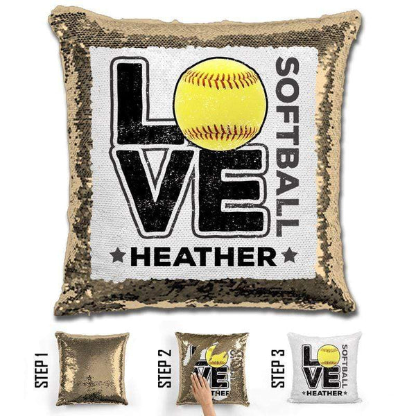 Personalized LOVE Softball Magic Sequin Pillow Pillow GLAM Gold Black
