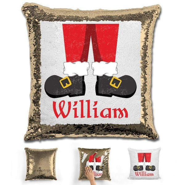 Personalized Santa Legs Magic Christmas Sequin Pillow Pillow GLAM Gold