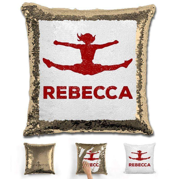 Competitive Cheerleader Personalized Magic Sequin Pillow Pillow GLAM Gold Maroon